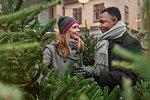 Couple Christmas tree shopping