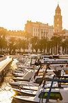 Sunrise at harbour in town, Split, Dalmatian Coast, Splitsko-Dalmatinska, Croatia