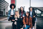 Portrait of friends in street, Milan, Italy