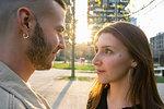 Loving young couple in city, Milano, Lombardia, Italy