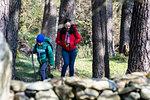 Mother and son exploring national park, Llanaber, Gwynedd, United Kingdom