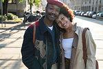 Portrait of loving couple in street, Milan, Italy