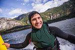 Man kite surfing in sea, Squamish, Canada