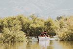 Friends kayaking in lake, Kaweah, California, United States