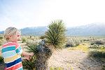 Boy beside Joshua tree, Olancha, California, US