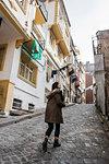 Woman exploring city, Istanbul, Turkey