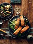 Smoked salmon, horseradish and creamed vegetables