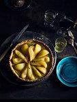 Pistachio frangipane poached pear tart