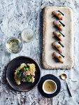 Ceviche sushi and flounder tempura with amazu salad