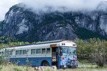 Motorhome parked near mountain, Squamish, British Columbia, Canada
