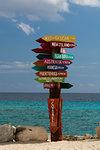 World distances sign post, Punta Sur Eco Park, Cozumel island, Mexico