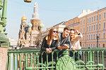 Friends sightseeing in city, Saint Petersburg, Russia