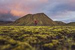 Hiker exploring mossy landscape, Landmannalaugar, Highlands, Iceland