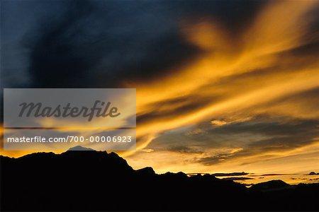 Coucher de soleil sur Bow Valley Parc National de Banff (Alberta), Canada