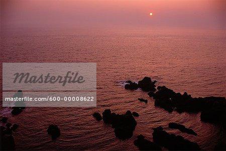 Coucher du soleil, South Head île Grand Manan au Nouveau-Brunswick, Canada