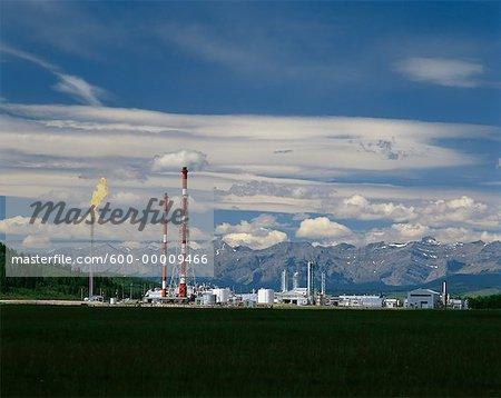 Hydrogen Sulphide Gas Plant Rocky Mountains, Alberta, Canada