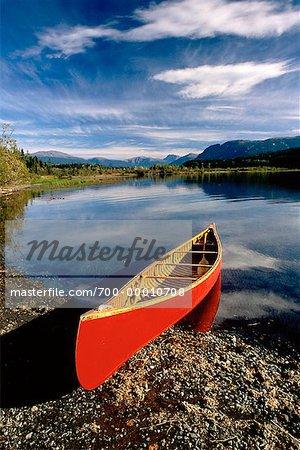 Canoe near Dease Lake British Columbia, Canada