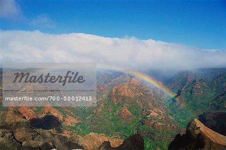 Waimea Canyon and Rainbow Kauai, Hawaii, USA
