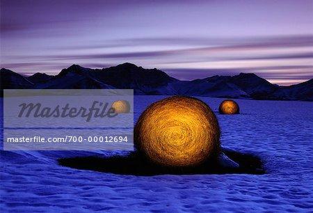 Balles de foin à la tombée de la nuit en hiver près de parc National Waterton Lakes (Alberta), Canada