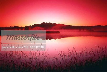 Fraser Valley au coucher du soleil la Colombie-Britannique, Canada