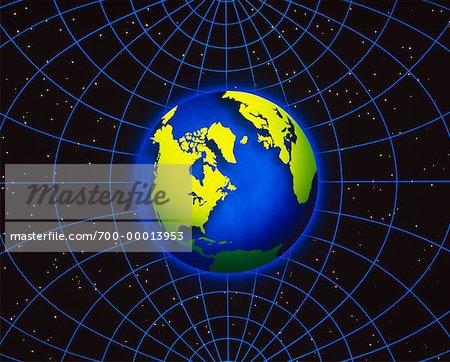 Globe and Grid North America and Atlantic Ocean