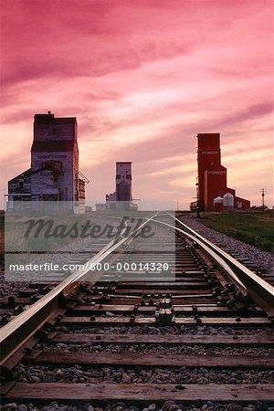Train Tracks at Sunset Saskatchewan, Canada