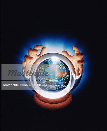 Illustration of Businessman's Hands over Crystal Ball