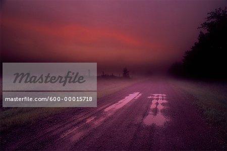 Route de campagne, à l'aube de l'Alberta, Canada