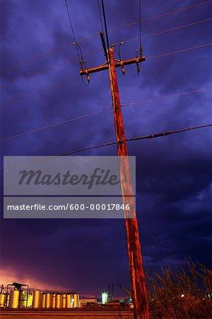 Poteau électrique près d'Edmonton, Alberta, Canada