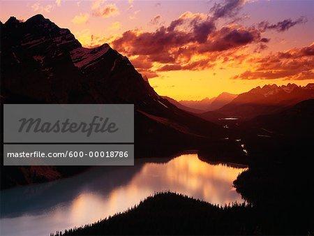 Sunset over Peyto Lake Banff National Park Alberta, Canada