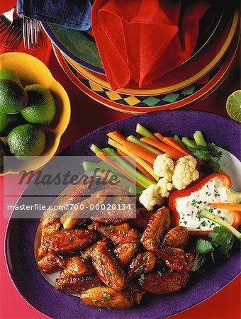 Hähnchenflügel mit Gemüse