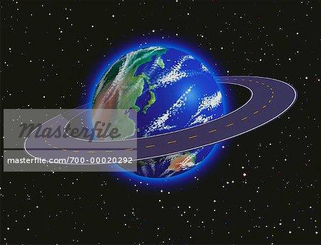 Globe and Encircling Road Pacific Rim