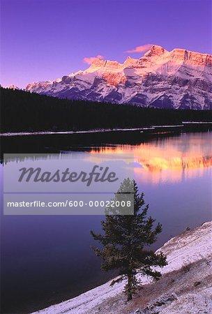 Sunset over Two Jack Lake Mount Rundle, Banff National Park Alberta, Canada