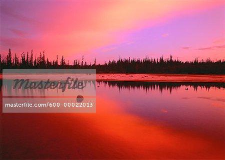 Grosbeak Lake at Sunrise Wood Buffalo National Park Alberta, Canada