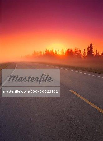 Sunrise over Road Highway 1, near Enterprise Northwest Territories, Canada