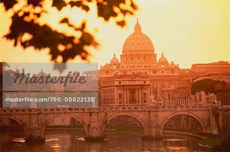 Saint Peter's Basilica at Sunset Tiber River, Vatican City, Rome Italy
