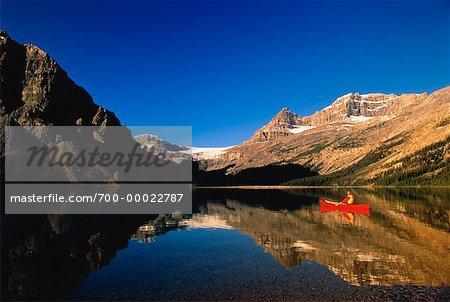 Person Canoeing on Bow Lake Banff, Alberta, Canada