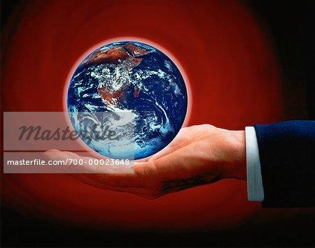 Hand Holding Globe Africa