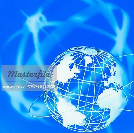 Globe de fil et anneaux vers le Nord et l'Amérique du Sud, Europe et Afrique