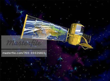 Communications Satellite Reflecting North America
