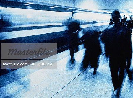 Blurred View of Subway Platform