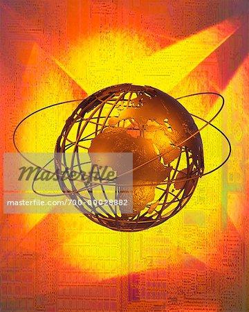 Globe de fil et anneaux d'Europe et Afrique