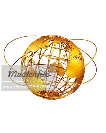 Globe de fil et anneaux de l'Atlantique