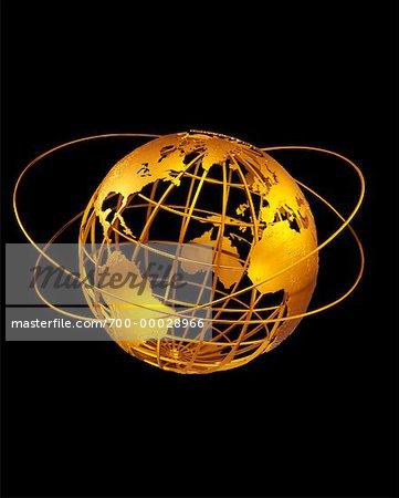 Globe de fil avec les anneaux de l'Atlantique