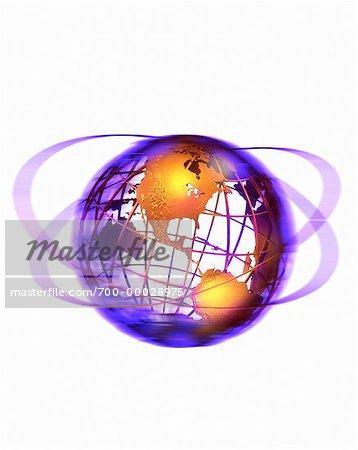 Globe de fil et anneaux vers le Nord et l'Amérique du Sud