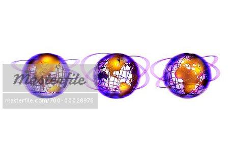 Trois Globes de fil affichant les Continents du monde