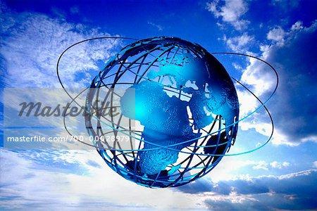 Fil Globe avec anneaux en Sky Europe et Afrique
