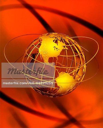 Globe de fil avec les anneaux vers le Nord et l'Amérique du Sud