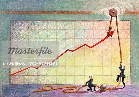 Illustration of Businessmen Raising Line on Graph