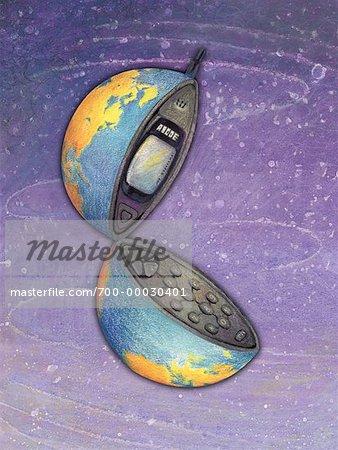 Illustration du Globe comme téléphone cellulaire